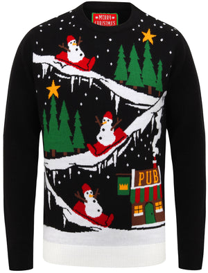 To The Pub Motif Novelty Christmas Jumper in Black – Merry Christmas