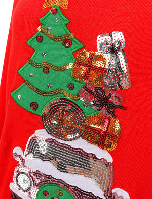 Women's Xmas Car Sequin Motif Novelty Christmas Jumper in Red
