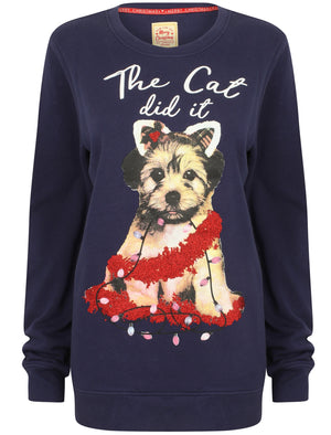 Women's Xmas Catty Motif Novelty Christmas Sweatshirt In Patriot Blue