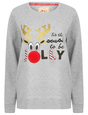 Women's Xmas Jolly Glitter Motif Novelty Christmas Sweatshirt In Light Grey Marl