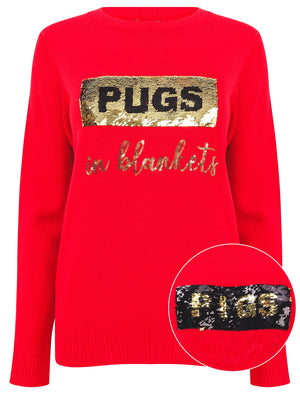 Women's Xmas PiggiePug 2 in 1 Reversible Sequin Christmas Jumper In High Risk Red