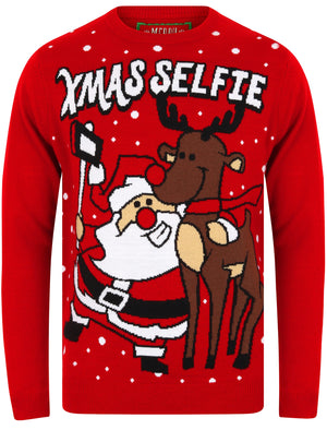 Xmas Selfie Motif Novelty Christmas Jumper in George Red – Merry Christmas