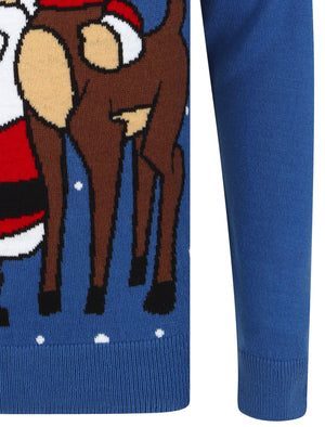 Xmas Selfie Motif Novelty Christmas Jumper in Olympian Blue – Merry Christmas
