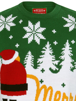Xmas Snow Motif Novelty Christmas Jumper in Green – Merry Christmas