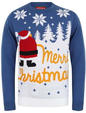 Xmas Snow Motif Novelty Christmas Jumper in Olympian Blue – Merry Christmas