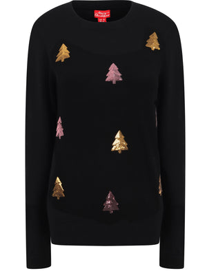 Women's Xmas Tree Sequin Motif Novelty Christmas Jumper in Black