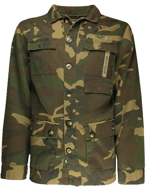 Jackson Camouflage Print Canvas Jacket in Khaki