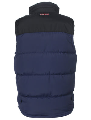 Kintyre branded patch zip up gilet in mid blue - Tokyo Laundry