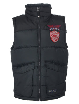 Kintyre branded patch zip up gilet in dark navy - Tokyo Laundry