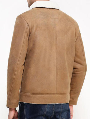 Floyd Faux Suede Fur Lined Aviator Jacket in Camel
