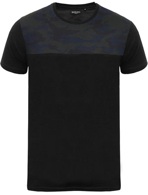 Rikki Camouflage Print Yoke Crew Neck T-Shirt in Black