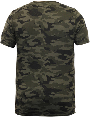 Tyler Camouflage Print Crew Neck T-shirt In Khaki