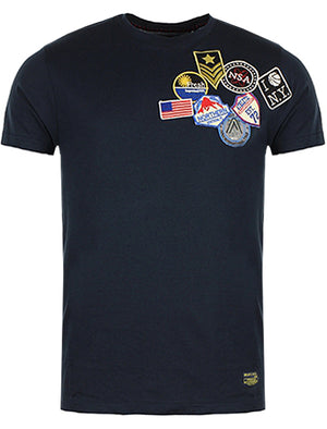 Stuart Patch Embroidery Short Sleeve T-Shirt in Navy