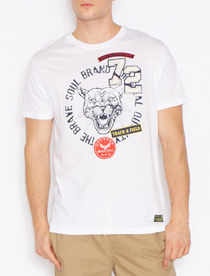 Brett Tiger Applique Crew Neck T-shirt In White