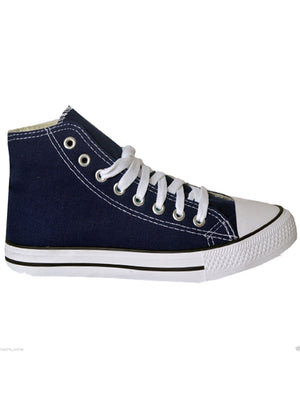 Womens Clara Lace up Canvas Hi Top Trainers in Navy