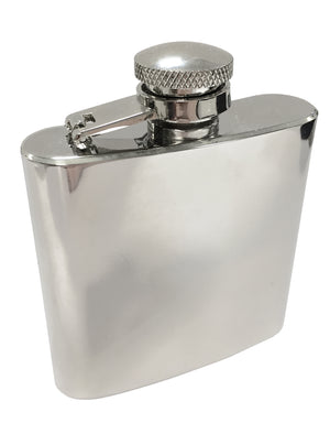 Nick 2½ oz Polished Stainless Steel Hip Flask in Silver