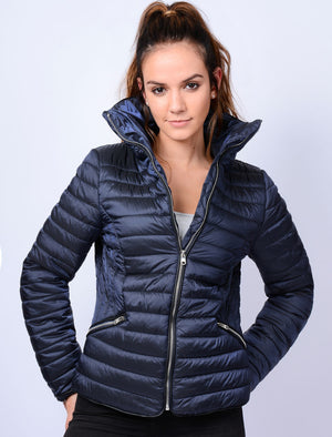 Nolanne Metallic Funnel Neck Quilted Jacket in Blue - Tokyo Laundry
