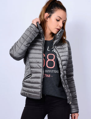 Nolanne Metallic Funnel Neck Quilted Jacket in Silver - Tokyo Laundry