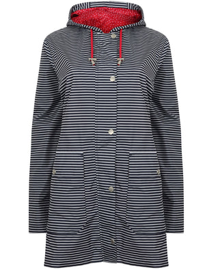 Callalily Striped Shower Resistant Hooded Rain Coat in Navy / White – Northern Expo