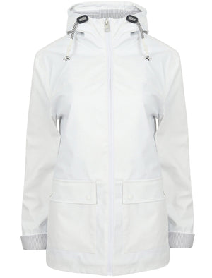 Puffin Shower Resistant Hooded Rain Coat in Bright White - Northern Expo