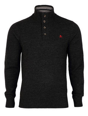 Lambs Wool Blend Button Neck Charcoal Jumper