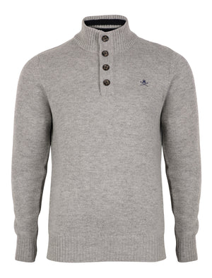 Lambs Wool Blend Button Neck Grey Jumper