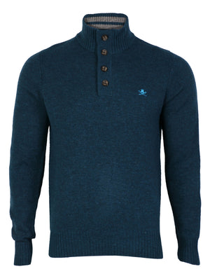Lambs Wool Blend Button Neck Navy Jumper
