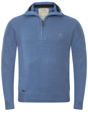 Men's Cotton Rich Zip Sweater in Blue