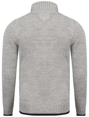 Men's mock double layer zipped grey cardigan - Old Boys Network