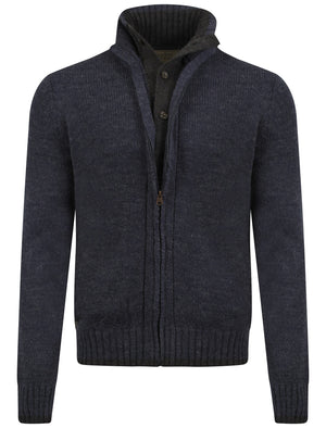 Men's mock double layer zipped navy cardigan - Old Boys Network