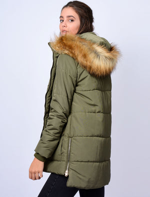 Oqena Quilted Parka Coat with Detachable Fur Trim Hood in Khaki - Tokyo Laundry