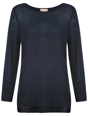 Women's longline ribbed navy jumper - Plum Tree
