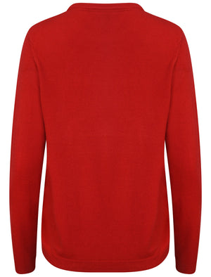 Hallam Crew Neck Cashmillon Knitted Jumper in Pillarbox Red - Plum Tree