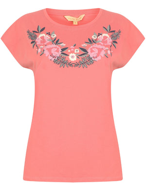 Hyacinth Floral Cotton Crew Neck T-Shirt In Rose – Plum Tree