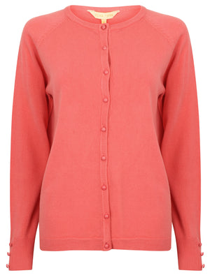 Mondrian Crew Neck Knitted Cardigan In Tea Rose - Plum Tree