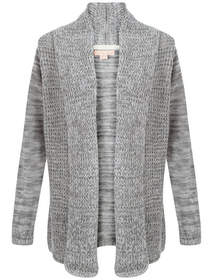 Plum Tree Oak Cardigan in Ivory and Mid Grey Marl