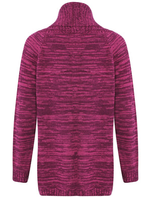 Plum Tree Oak Cardigan in Dark Purple and Raspberry Rose