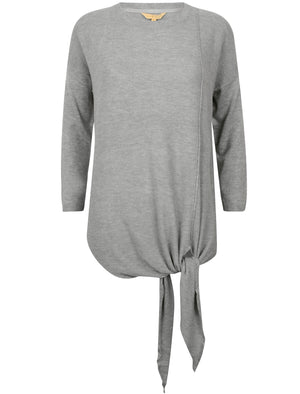 Cloverfield Tie Front Jumper in Light Grey Marl – Plum Tree