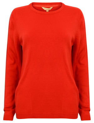 PT Obama Crew Neck Knit Jumper in Pillarbox Red - Plum Tree