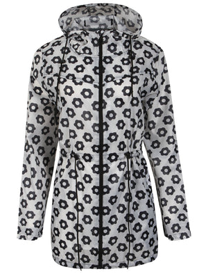 Ella Pac A Mac Lightweight Jacket in Black / White Daisy Print
