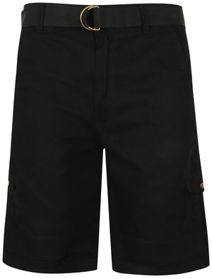 Juno Ripstop Cotton Cargo Shorts with Belt In Black