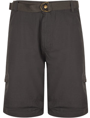 Juno Ripstop Cotton Cargo Shorts with Belt In Dark Grey