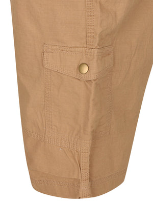 Juno Ripstop Cotton Cargo Shorts with Belt In Khaki Brown