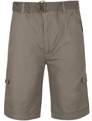 Juno Ripstop Cotton Cargo Shorts with Belt In Light Grey