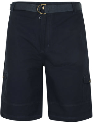 Juno Ripstop Cotton Cargo Shorts with Belt In Navy Blue
