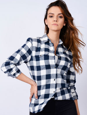 TL Rhoda Checked Flannel Shirt in Navy / White – Tokyo Laundry