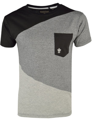 Mens Rocco Colour Block T-Shirt with Pocket in Black