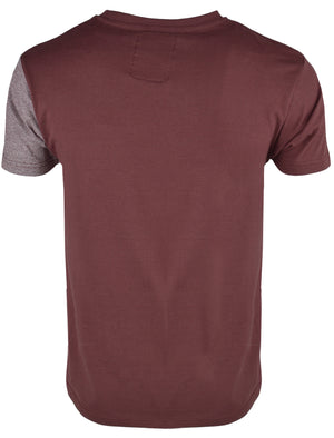 Mens Rocco Colour Block T-Shirt with Pocket in Bordeaux