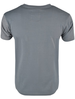 Mens Rocco Colour Block T-Shirt with Pocket in Charcoal / Navy