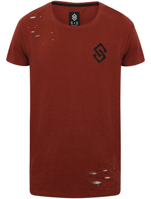 St Abran Longline Cotton T-Shirt with Rips in Topper Red - Saint & Sinner
